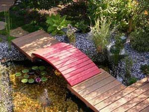Japanese Water Garden with Bridge