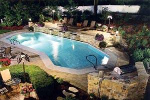 Inground Pool At Night